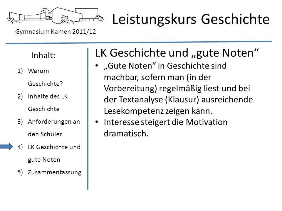 """LK Geschichte und """"gute Noten"""