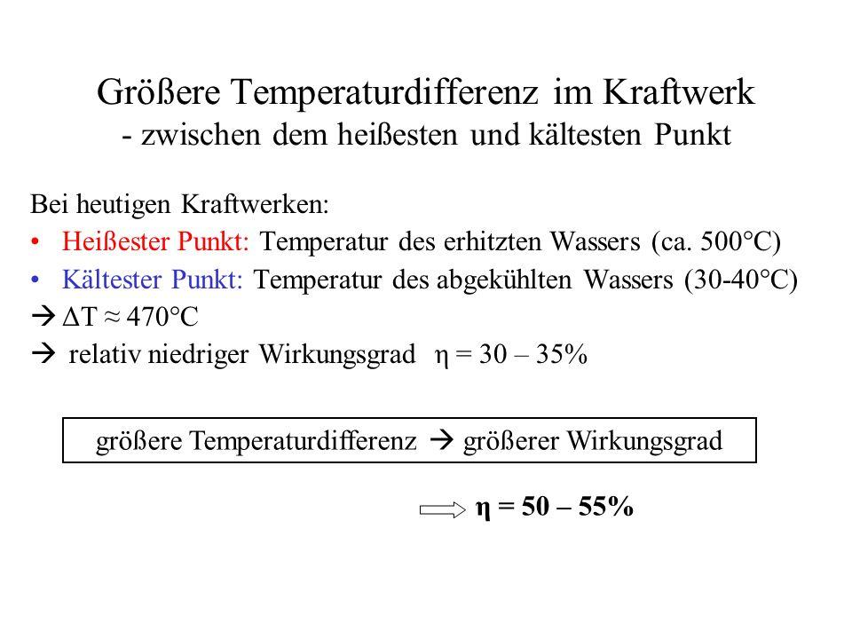 größere Temperaturdifferenz  größerer Wirkungsgrad