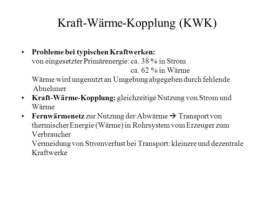Kraft-Wärme-Kopplung (KWK)