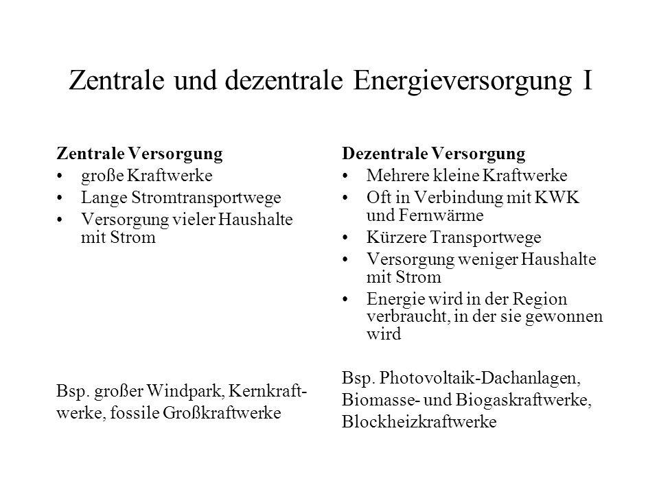 Zentrale und dezentrale Energieversorgung I