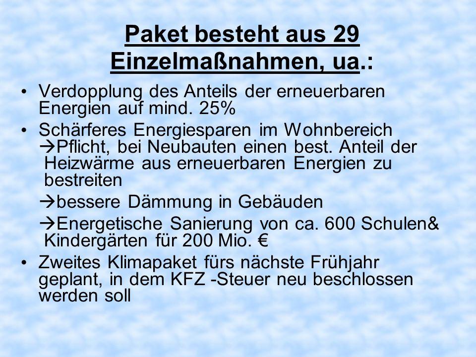 Paket besteht aus 29 Einzelmaßnahmen, ua.: