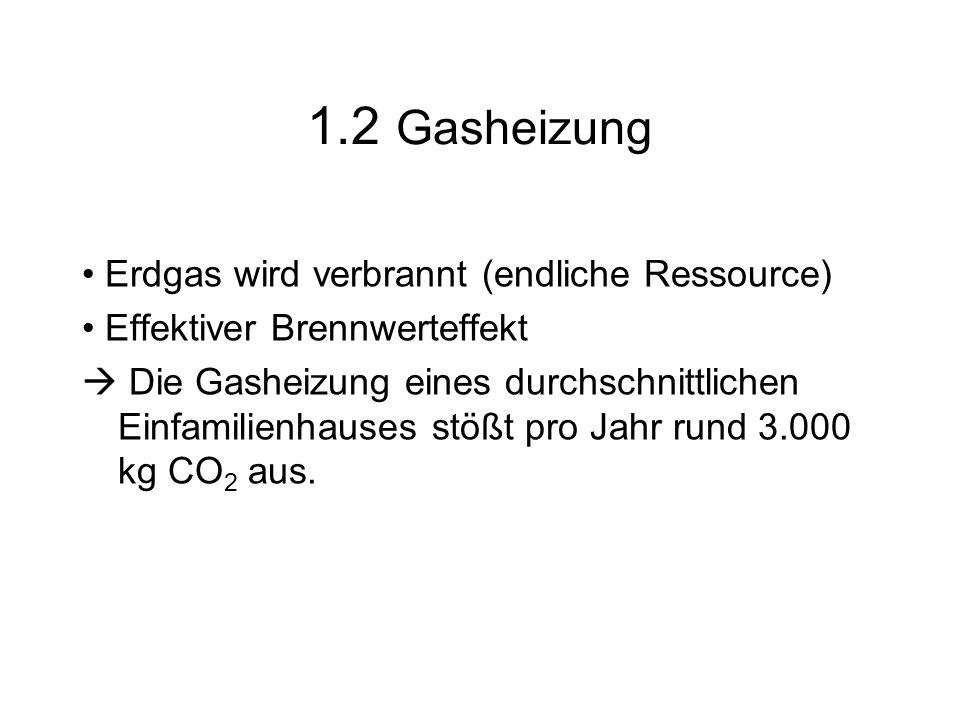 1.2 Gasheizung • Erdgas wird verbrannt (endliche Ressource)