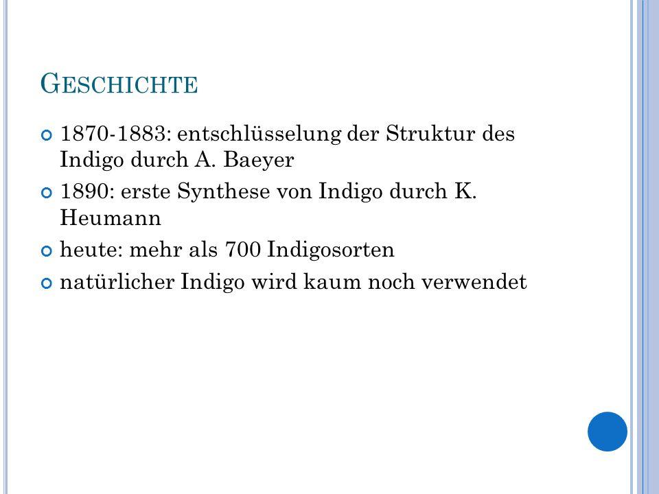 Geschichte 1870-1883: entschlüsselung der Struktur des Indigo durch A. Baeyer. 1890: erste Synthese von Indigo durch K. Heumann.