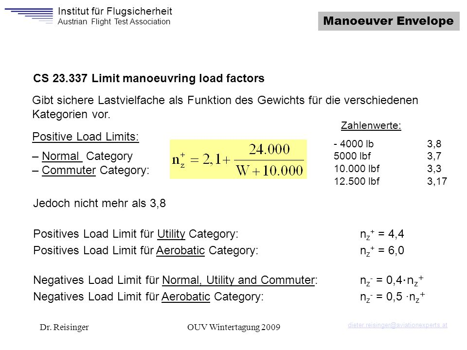 CS 23.337 Limit manoeuvring load factors