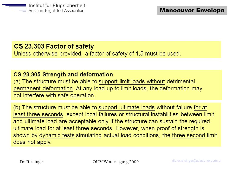CS 23.303 Factor of safety Manoeuver Envelope