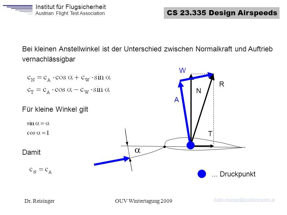 CS 23.335 Design Airspeeds Bei kleinen Anstellwinkel ist der Unterschied zwischen Normalkraft und Auftrieb vernachlässigbar.