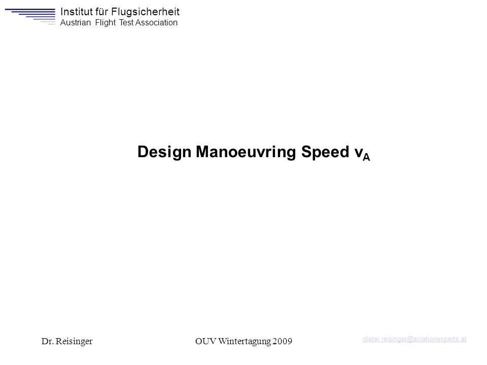 Design Manoeuvring Speed vA