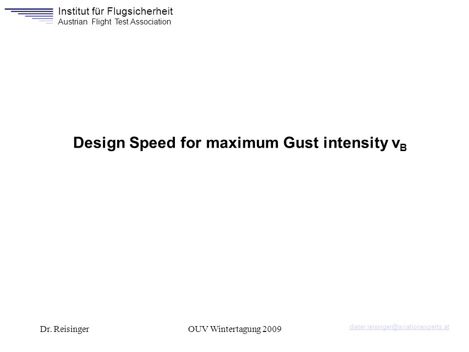 Design Speed for maximum Gust intensity vB