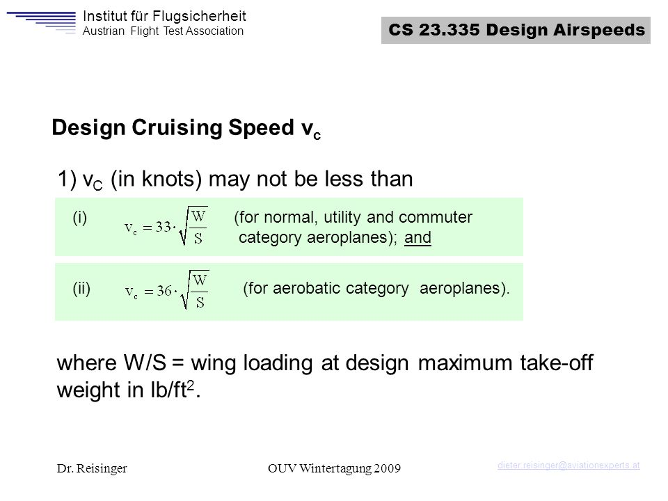 Design Cruising Speed vc