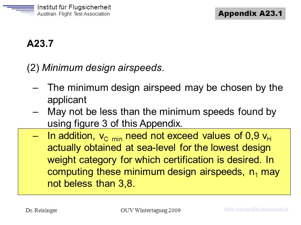 (2) Minimum design airspeeds.