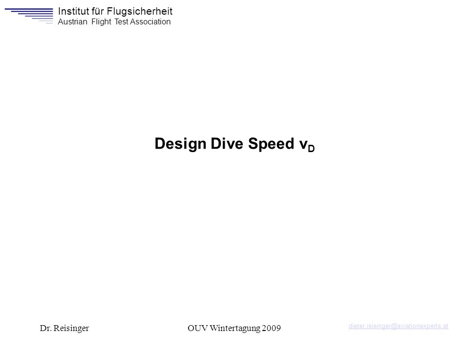 Design Dive Speed vD Dr. Reisinger OUV Wintertagung 2009