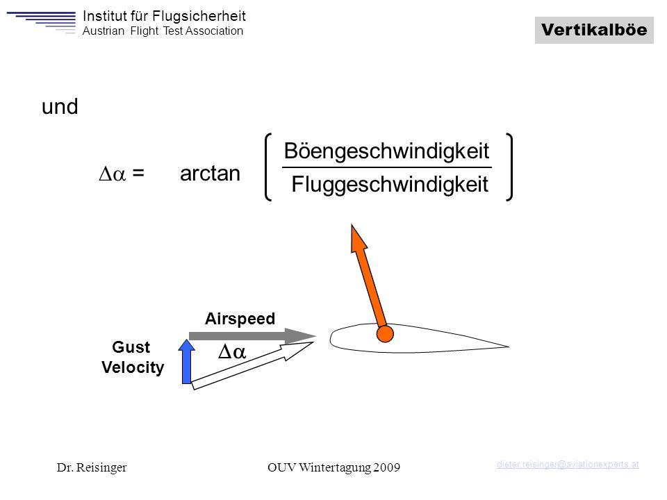 und Böengeschwindigkeit Da = arctan Fluggeschwindigkeit Da Vertikalböe