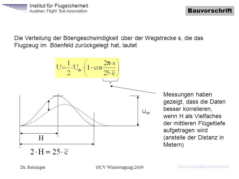 Bauvorschrift Die Verteilung der Böengeschwindigkeit über der Wegstrecke s, die das Flugzeug im Böenfeld zurückgelegt hat, lautet.