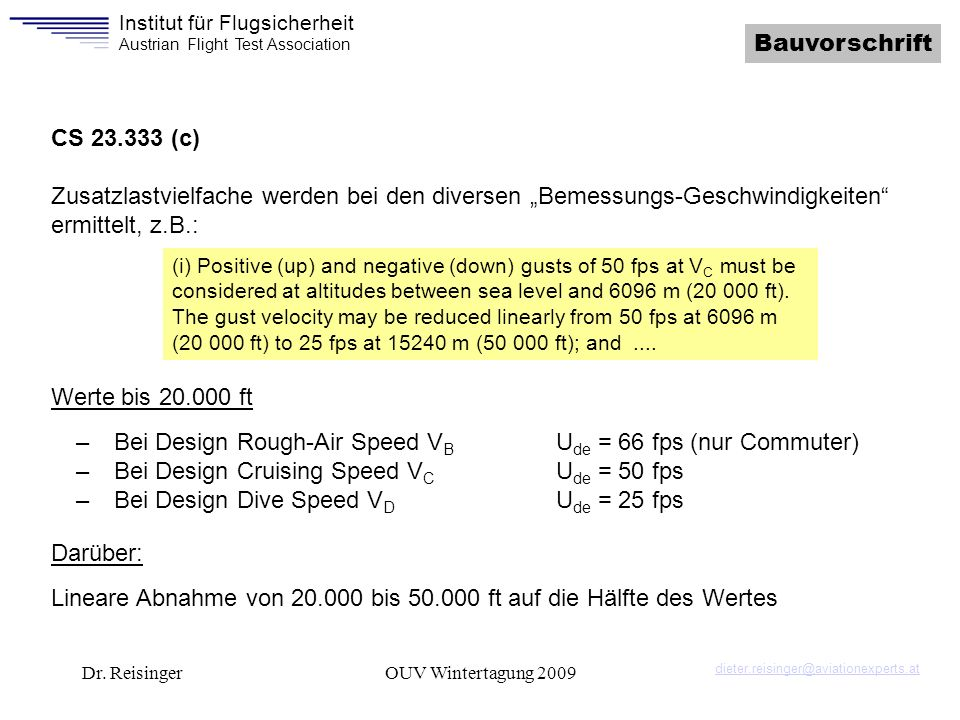 Bei Design Rough-Air Speed VB Ude = 66 fps (nur Commuter)