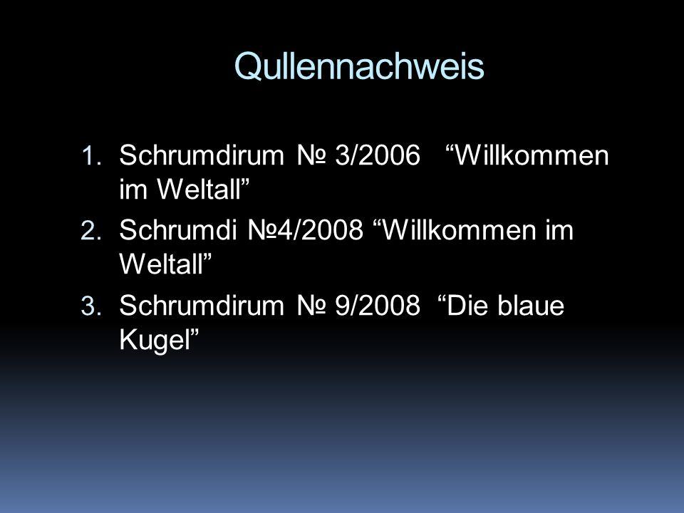 Qullennachweis Schrumdirum № 3/2006 Willkommen im Weltall