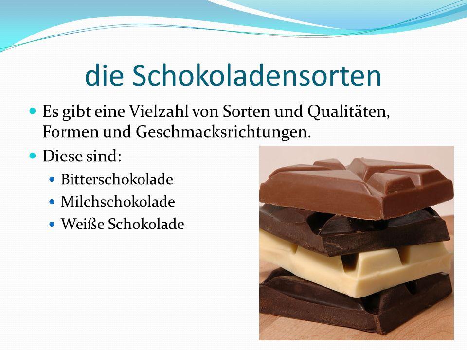 die Schokoladensorten