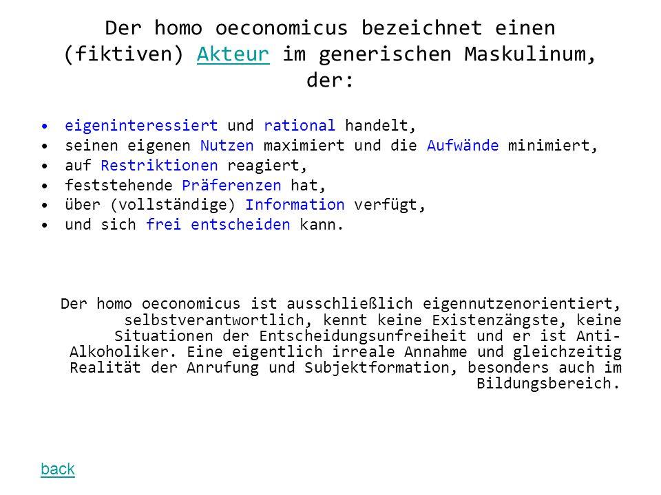 Der homo oeconomicus bezeichnet einen (fiktiven) Akteur im generischen Maskulinum, der: