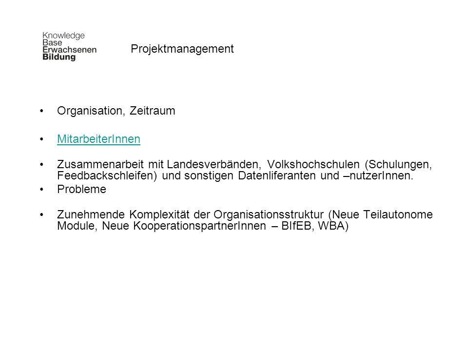 Projektmanagement Organisation, Zeitraum. MitarbeiterInnen.
