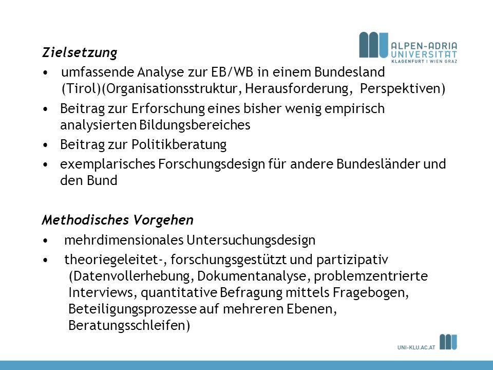 Zielsetzung umfassende Analyse zur EB/WB in einem Bundesland (Tirol)(Organisationsstruktur, Herausforderung, Perspektiven)