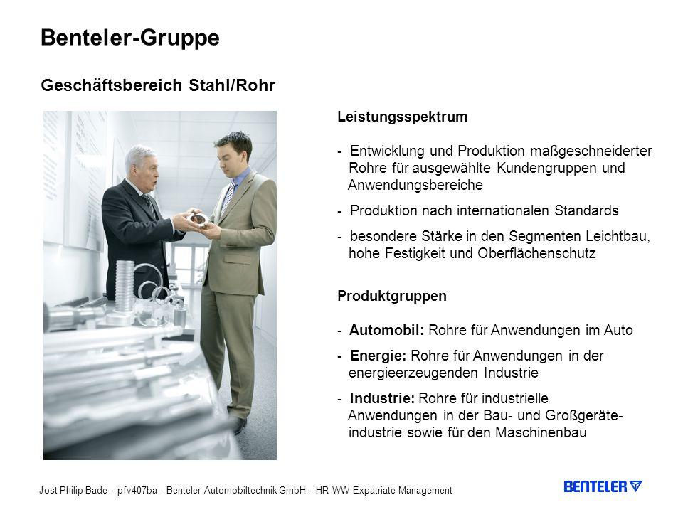 Benteler-Gruppe Geschäftsbereich Stahl/Rohr Leistungsspektrum