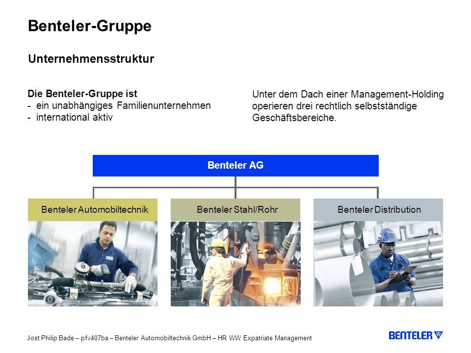 Benteler-Gruppe Unternehmensstruktur Die Benteler-Gruppe ist
