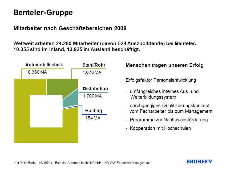 Benteler-Gruppe Mitarbeiter nach Geschäftsbereichen 2008