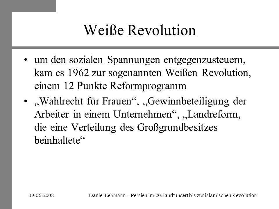 Weiße Revolution um den sozialen Spannungen entgegenzusteuern, kam es 1962 zur sogenannten Weißen Revolution, einem 12 Punkte Reformprogramm.