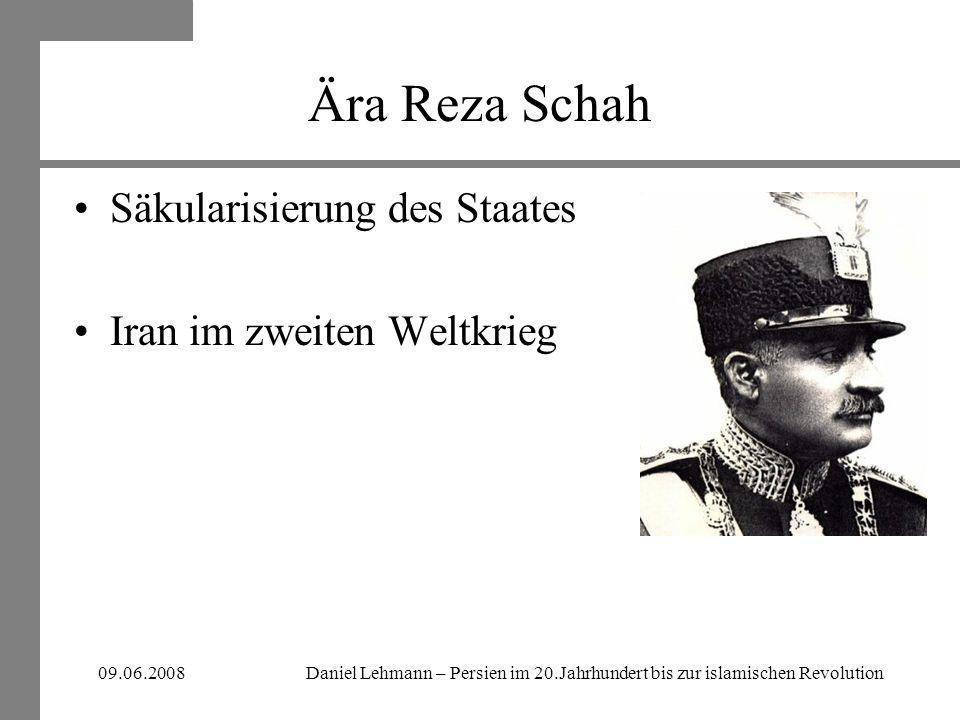 Ära Reza Schah Säkularisierung des Staates Iran im zweiten Weltkrieg