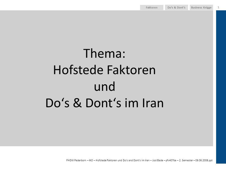 Thema: Hofstede Faktoren und Do's & Dont's im Iran