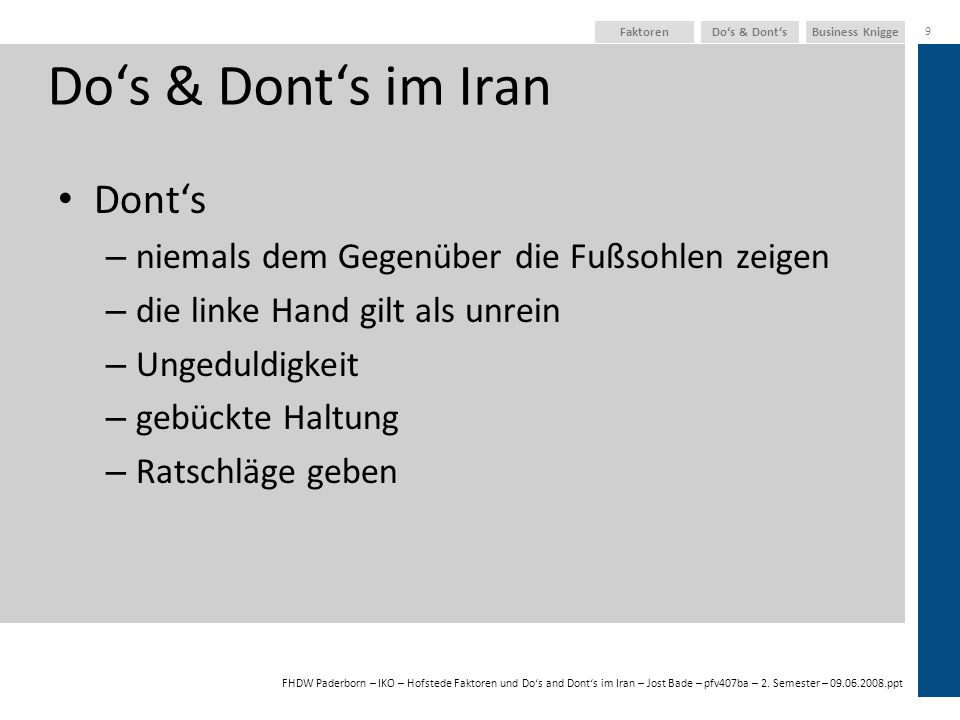 Do's & Dont's im Iran Dont's