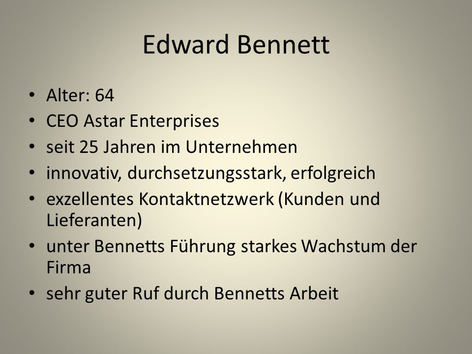 Edward Bennett Alter: 64 CEO Astar Enterprises