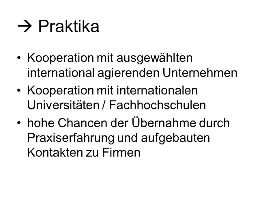  Praktika Kooperation mit ausgewählten international agierenden Unternehmen. Kooperation mit internationalen Universitäten / Fachhochschulen.