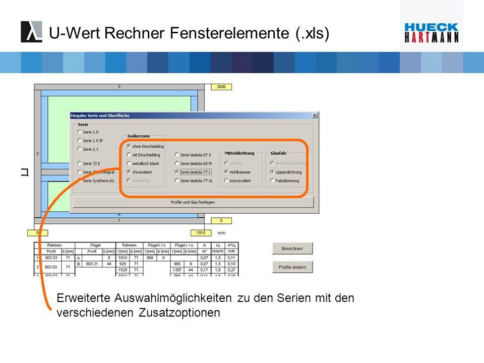 U-Wert Rechner Fensterelemente (.xls)