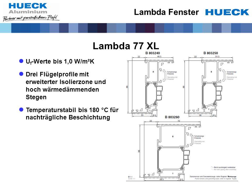 Lambda 77 XL Lambda Fenster Uf-Werte bis 1,0 W/m²K