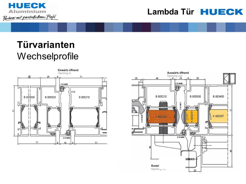 Lambda Tür Türvarianten Wechselprofile
