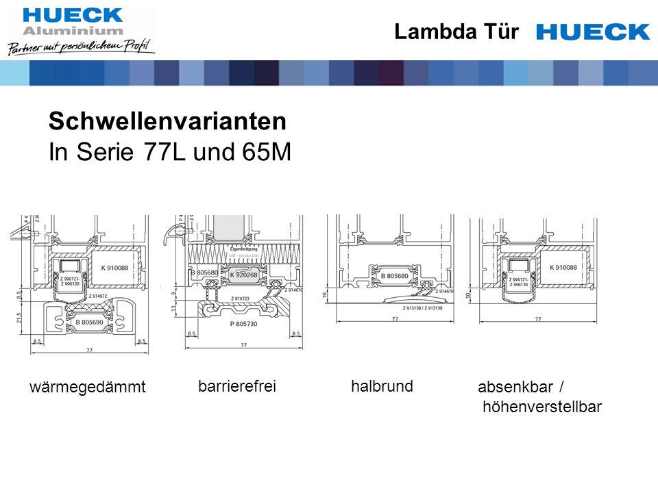 Schwellenvarianten In Serie 77L und 65M Lambda Tür wärmegedämmt