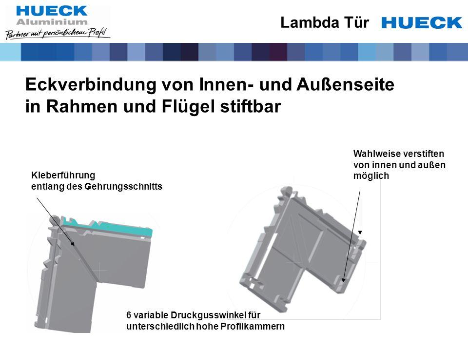 Eckverbindung von Innen- und Außenseite in Rahmen und Flügel stiftbar