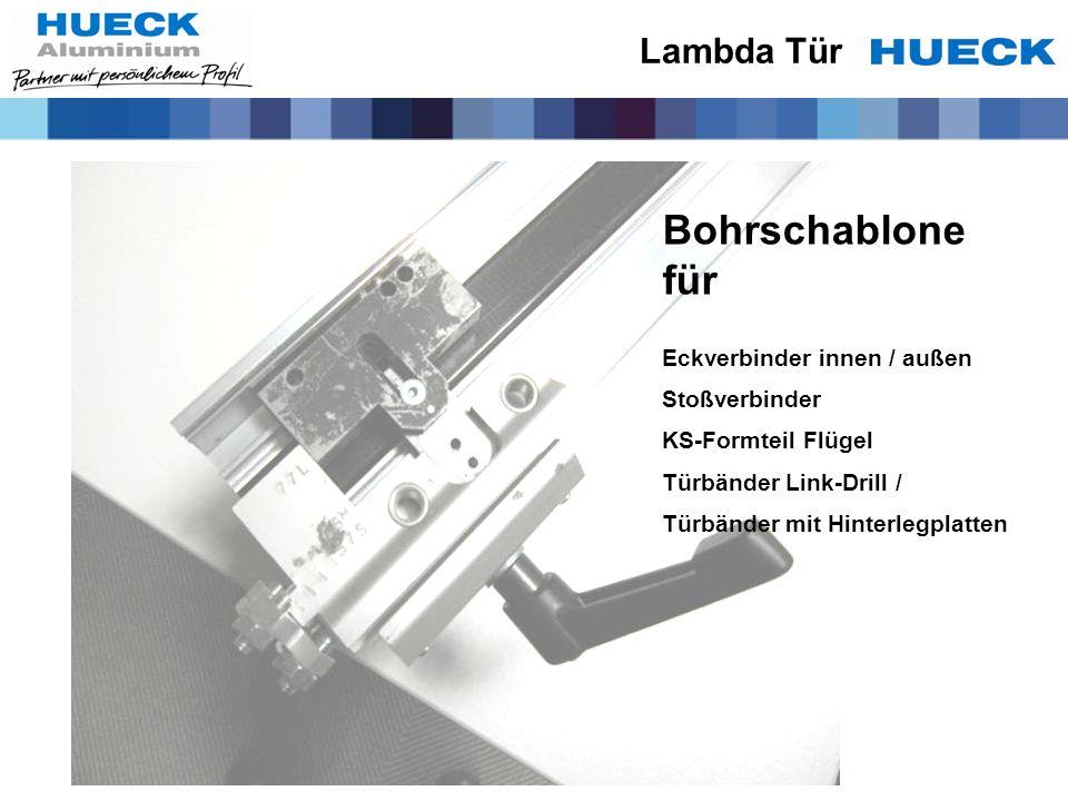 Bohrschablone für Lambda Tür Eckverbinder innen / außen Stoßverbinder