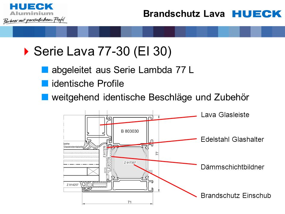 Serie Lava 77-30 (EI 30) Brandschutz Lava