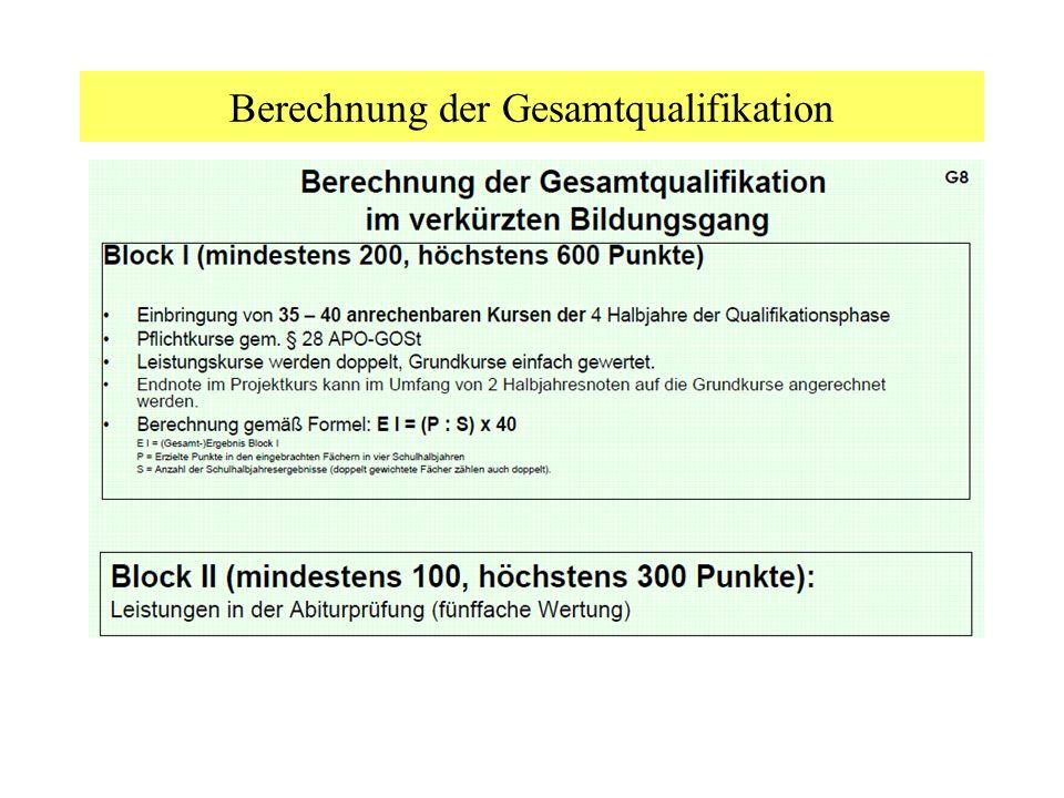 Berechnung der Gesamtqualifikation