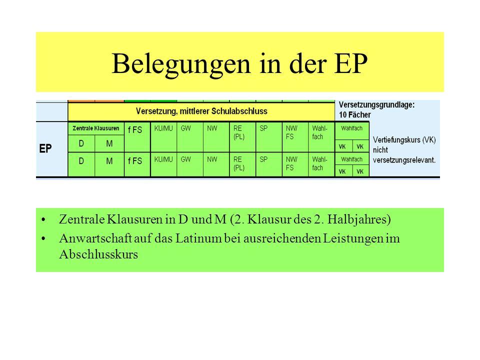 Belegungen in der EP Zentrale Klausuren in D und M (2. Klausur des 2. Halbjahres)