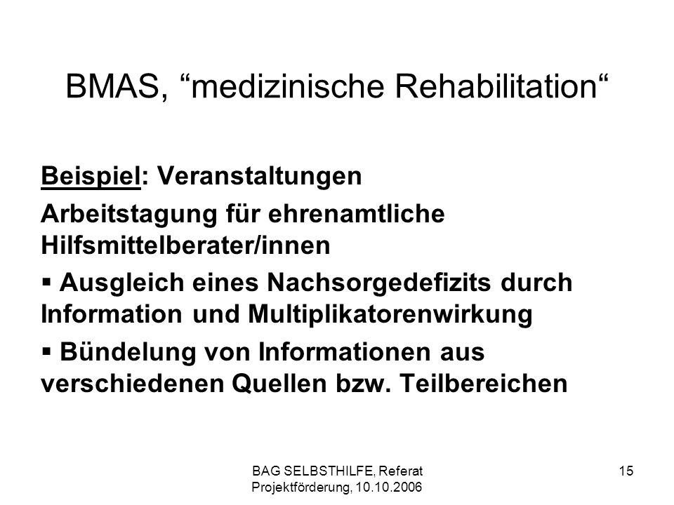 BMAS, medizinische Rehabilitation