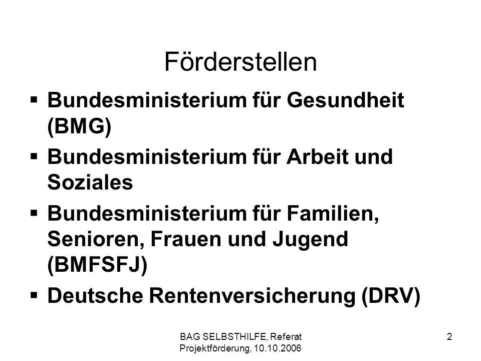 BAG SELBSTHILFE, Referat Projektförderung, 10.10.2006