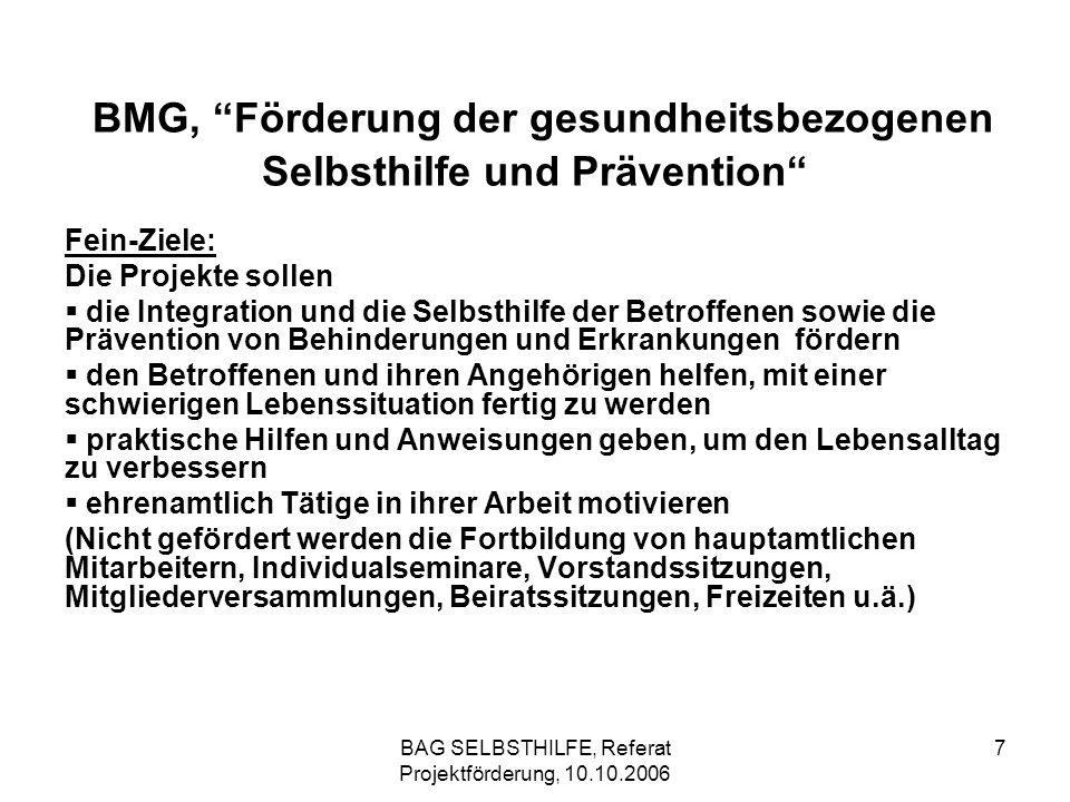 BMG, Förderung der gesundheitsbezogenen Selbsthilfe und Prävention
