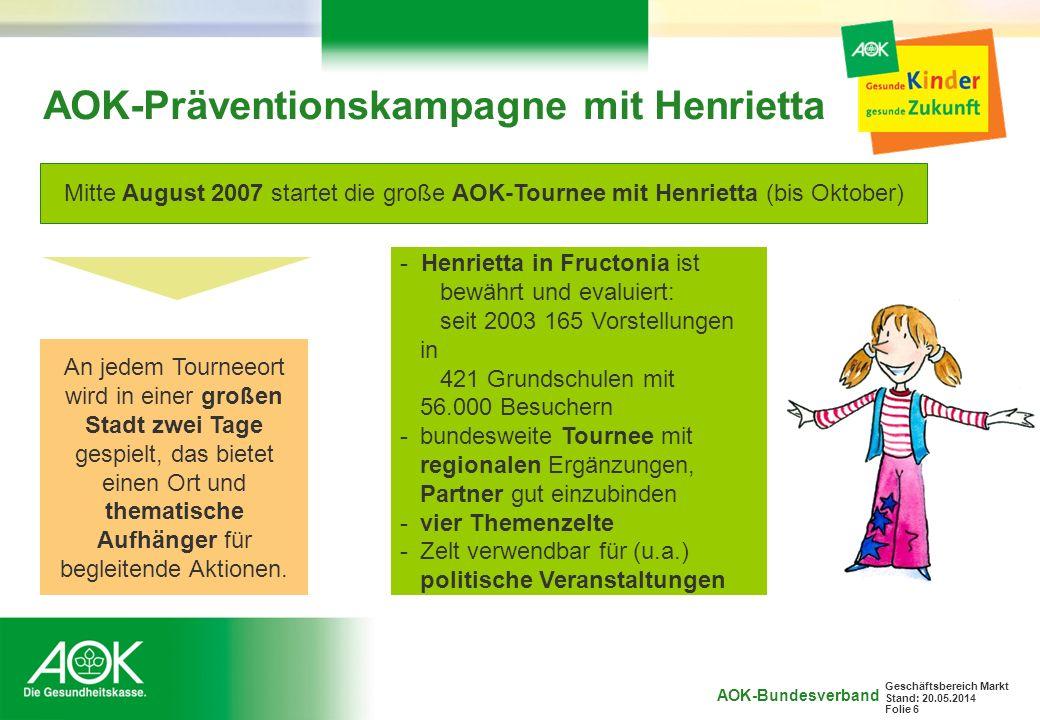 AOK-Präventionskampagne mit Henrietta