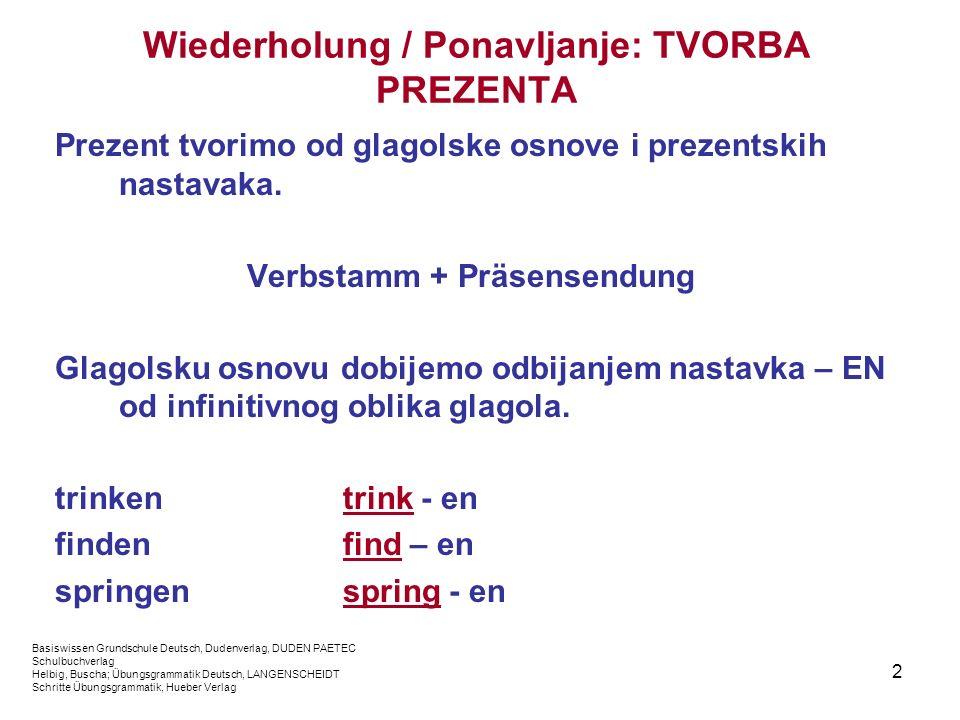 Wiederholung / Ponavljanje: TVORBA PREZENTA