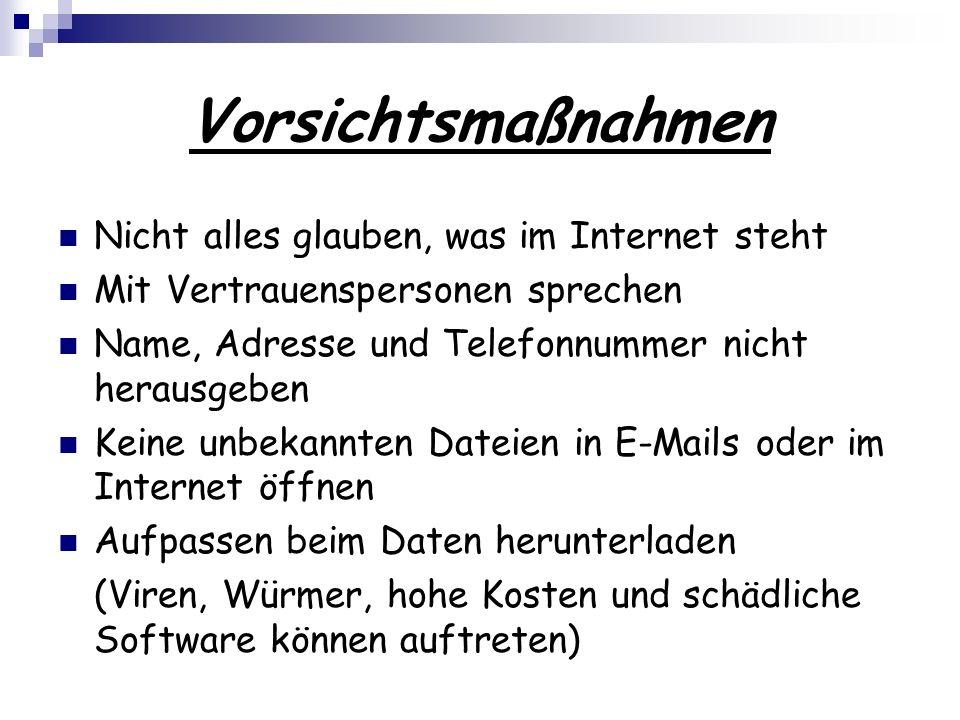 Vorsichtsmaßnahmen Nicht alles glauben, was im Internet steht