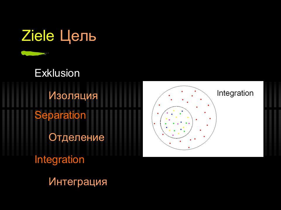 Ziele Цель Exklusion Изоляция Separation Отделение Integration