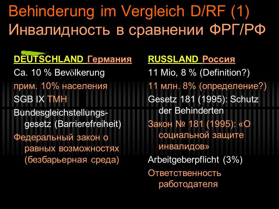 Behinderung im Vergleich D/RF (1) Инвалидность в сравнении ФРГ/РФ