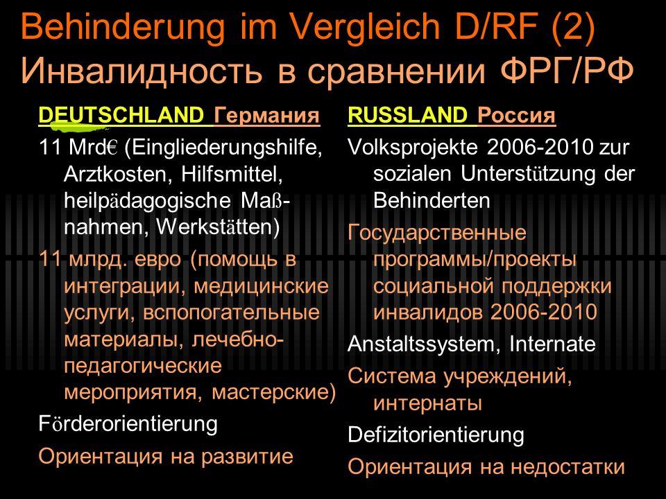 Behinderung im Vergleich D/RF (2) Инвалидность в сравнении ФРГ/РФ